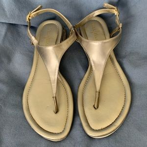 Cole Haan Gold Leather Thong Sandals Size 8